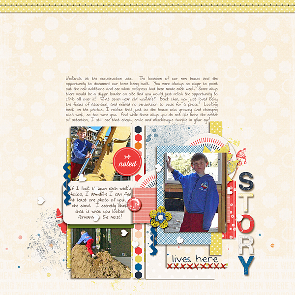 Creative Inspiration for the April 2014 Just Press Play challenge with Hyacinth page designs by Jen